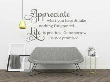 "Wall Quote ""Appreciate what you have…"" Inspirational Homely Sticker Decal Decor"